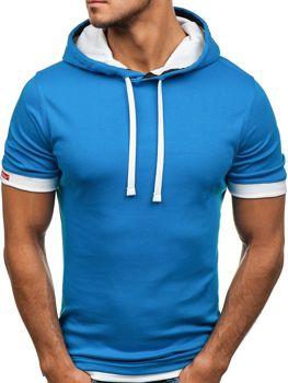 Modré pánske tričko bez potlače BOLF 08