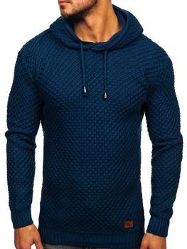 Modrý pánsky sveter s kapucňou Bolf 7004