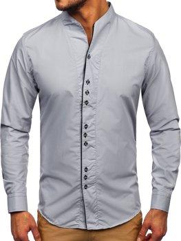 Pánska šedá košeľa s dlhými rukávmi Bolf 5720