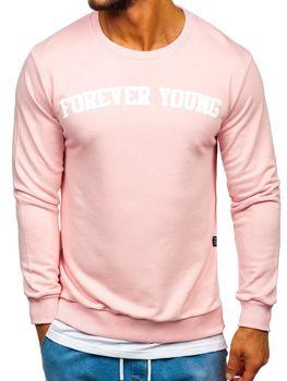 Ružová pánska mikina bez kapucne s potlačou FOREVER YOUNG  Bolf 11116
