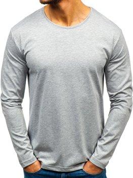 a4c63995f Šedé pánska tričko s dlhými rukávmi bez potlače BOLF 172007
