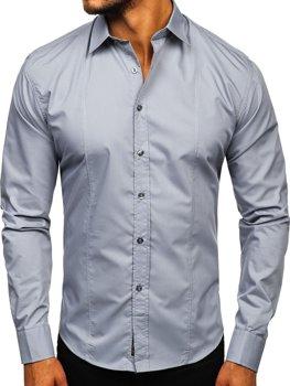 Šedé pánske tričko s dlhými rukávmi Bolf 4705G