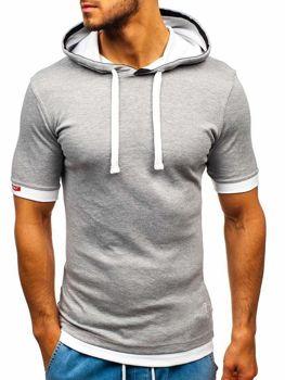 Šedé pánske tričko s kapucňou BOLF 08-1