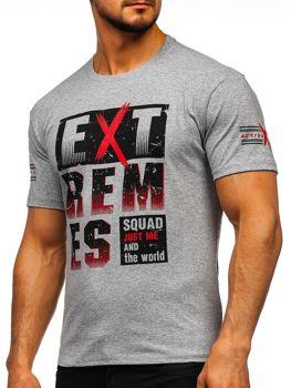 Šedé pánske tričko s potlačou Bolf 14312
