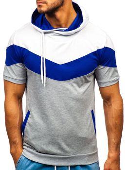 Šedé pánske tričko s potlačou a kapucňou BOLF 9026