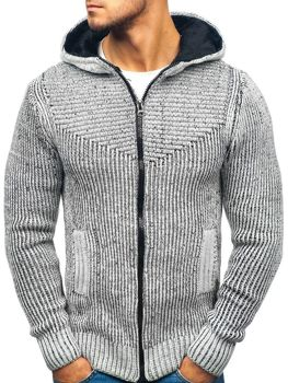 Šedo-čierny pánsky sveter BOLF 20008