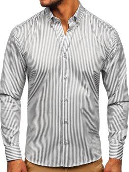 Sivá pánska pruhovaná košeľa s dlhými rukávmi Bolf 20726