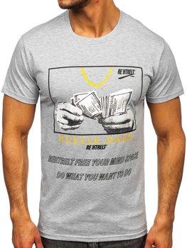 Sivé pánske tričko s potlačou Bolf KS2538