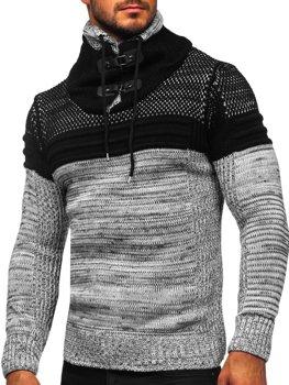 Sivý hrubý pánsky sveter so stojačikovým golierom Bolf 2058