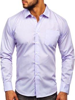 Svetlofialová pánska elegantná košeľa s dlhými rukávmi Bolf 0003