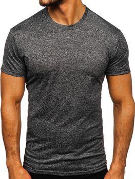Tmavografitové pánske tréningové tričko bez potlače BolfS01