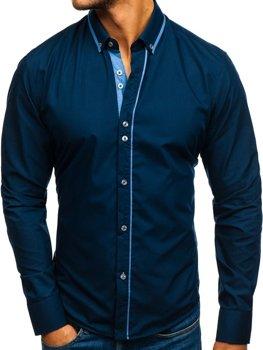 Tmavomodrá pánska elegantá košeľa s dlhými rukávmi BOLF 8823