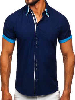 Tmavomodrá pánska elegantá košeľa s krátkymi rukávmi BOLF 2926