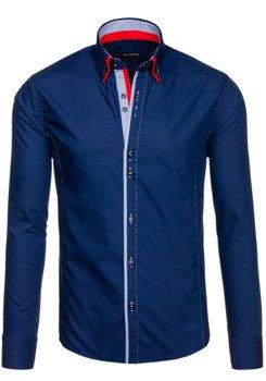 Tmavomodrá pánska elegantná košeľa s dlhými rukávmi BOLF 6859