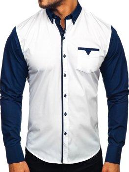Tmavomodrá pánska elegantná košeľa s dlhými rukávmi Bolf 5726-1