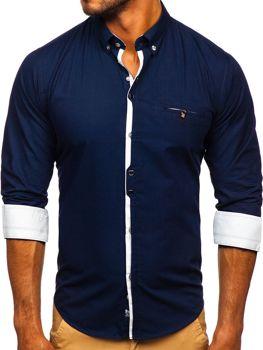 Tmavomodrá pánska elegantná košeľa s dlhými rukávmi Bolf 7720
