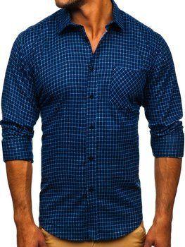 Tmavomodrá pánska flanelová košeľa s dlhými rukávmi Bolf F8
