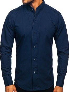 Tmavomodrá pánska košeľa s dlhými rukávmi BOLF 5702