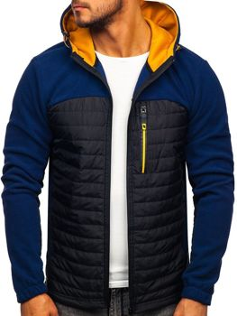 Tmavomodrá pánska prechodná flísová bunda Bolf  YL010