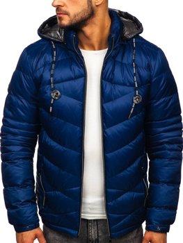 Tmavomodrá pánska prešívaná športová zimná bunda Bolf 50A223