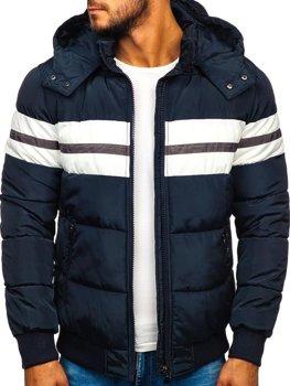Tmavomodrá pánska prešívaná športová zimná bunda Bolf JK397