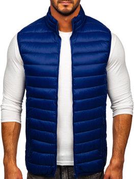 Tmavomodrá pánska prešívaná vesta bez kapucne Bolf LY32