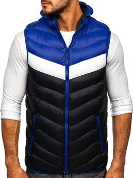 Tmavomodrá pánska prešívaná vesta s kapucňou Bolf HDL88004