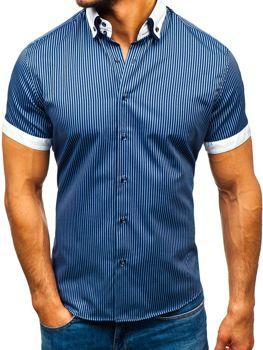 c64752824618 Tmavomodrá pánska pruhovaná košeľa s krátkymi rukávmi BOLF 1808