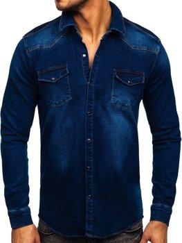 Tmavomodrá pánska riflová košeľa s dlhými rukávmi Bolf R700