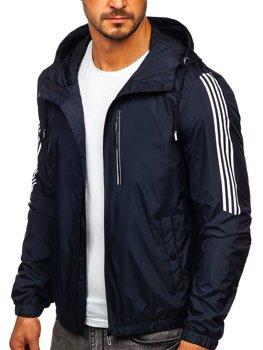 Tmavomodrá pánska športová prechodná bunda s kapucňou Bolf 6172