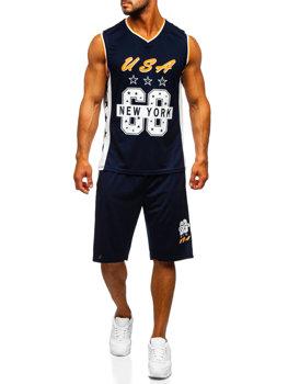 Tmavomodrá pánska súprava tričko + šortky Bolf C10171