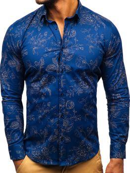 Tmavomodrá pánska vzorovaná košeľa s dlhými rukávmi BOLF 200G67