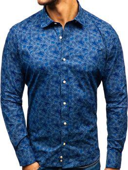 Tmavomodrá pánska vzorovaná košeľa s dlhými rukávmi BOLF 301G84
