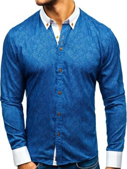 b2ab9231fc66 Tmavomodrá pánska vzorovaná košeľa s dlhými rukávmi BOLF 8842