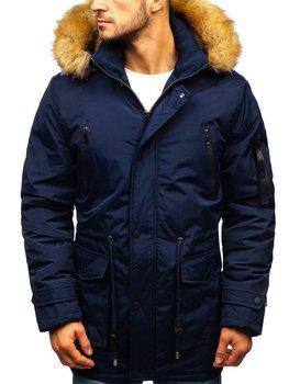 Tmavomodrá pánska zimná bunda parka BOLF R102