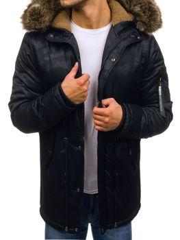 Tmavomodrá pánska zimná bunda parka BOLF R52
