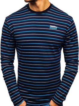 Tmavomodré pánske prúžkované tričko s dlhými rukávmi Bolf  1519-A