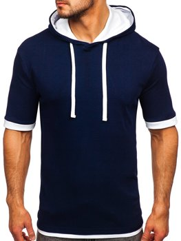 Tmavomodré pánske tričko bez potlače Bolf 08