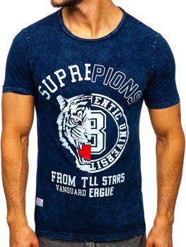 Tmavomodré pánske tričko s potlačou Bolf HFM015