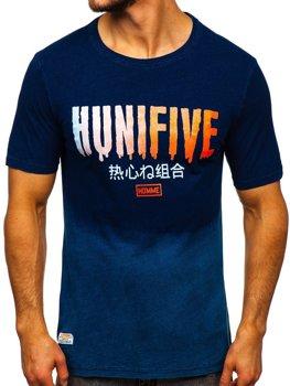 Tmavomodré pánske tričko s potlačou Bolf HFM016