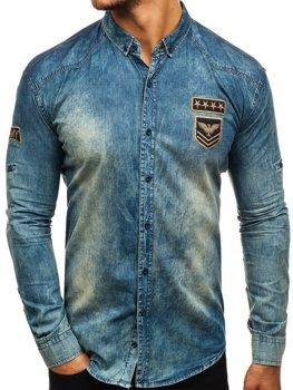 Tmavomodro-šedá pánska riflová košeľa s dlhými rukávmi BOLF 0992