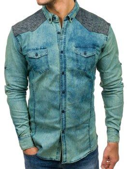 Tmavomodro-šedá pánska vzorovaná riflová košeľa s dlhými rukávmi BOLF 0517-1