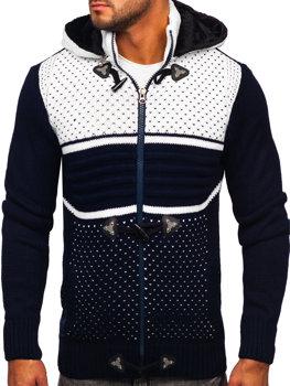 Tmavomodrý hrubý pánsky sveter/bunda so zapínaním na zips s kapucňou Bolf 2047