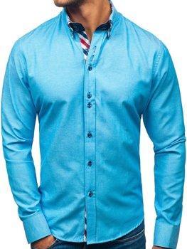 Tyrkysová pánska elegantá košeľa s dlhými rukávmi BOLF 2759