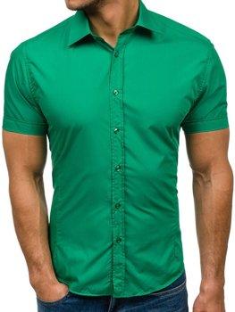 Zelená pánska elegantá košeľa s krátkymi rukávmi BOLF 7501