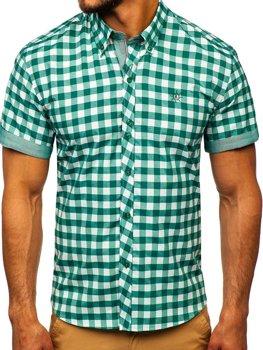 Zelená pánska károvaná košeľa s krátkymi rukávmi BOLF 6522