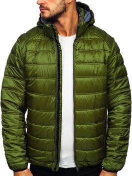 Zelená pánska prešívaná športová zimná bunda Bolf BK111