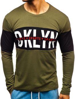 Zelené pánske tričko s dlhými rukávmi s potlačou BOLF XXS1090