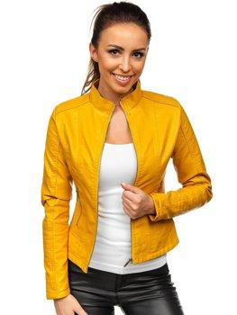 Žltá dámska koženková bunda Bolf B12