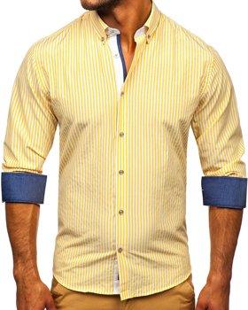 Žltá pánska prúžkovaná košeľa s dlhými rukávmi Bolf 20704